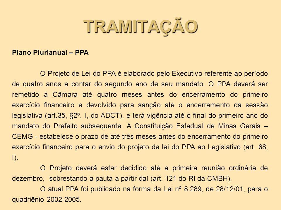TRAMITAÇÃO Plano Plurianual – PPA O Projeto de Lei do PPA é elaborado pelo Executivo referente ao período de quatro anos a contar do segundo ano de se
