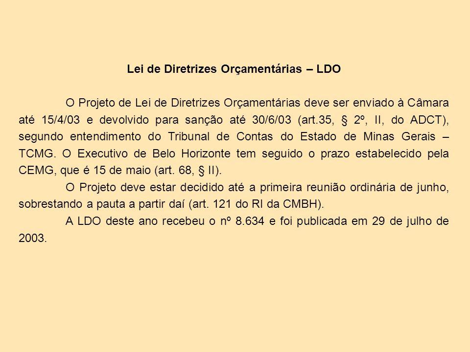 Lei do Orçamento Anual – LOA O Projeto da LOA, em cumprimento à LDO deste ano, deve ser enviado à Câmara até o dia 30/09/02, que corresponde ao prazo determinado pela CEMG, em seu art.