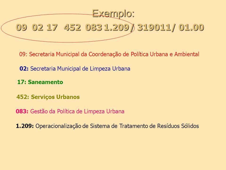 Exemplo: 0217 / 319011/ 01.00 094520831.209 09: Secretaria Municipal da Coordenação de Política Urbana e Ambiental 1.209: Operacionalização de Sistema