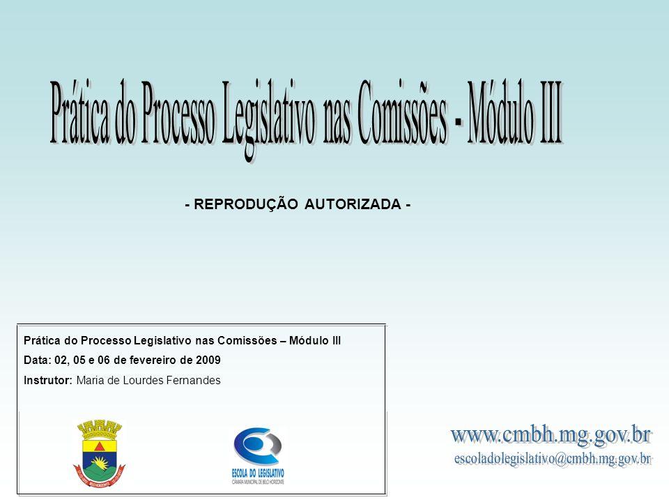 Prática do Processo Legislativo nas Comissões – Módulo III Data: 02, 05 e 06 de fevereiro de 2009 Instrutor: Maria de Lourdes Fernandes - REPRODUÇÃO AUTORIZADA -