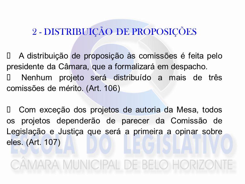 2 - DISTRIBUIÇÃO DE PROPOSIÇÕES A distribuição de proposição às comissões é feita pelo presidente da Câmara, que a formalizará em despacho.