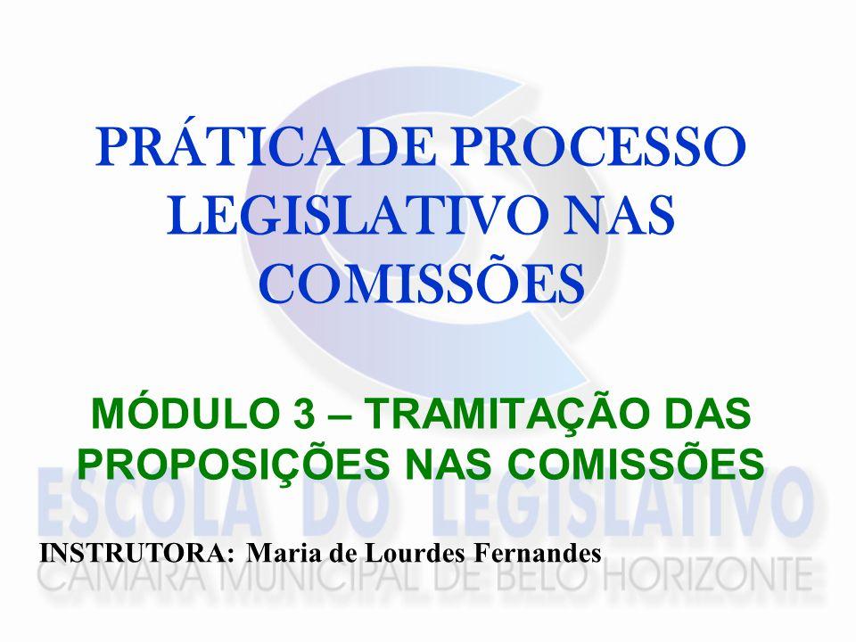 PRÁTICA DE PROCESSO LEGISLATIVO NAS COMISSÕES MÓDULO 3 – TRAMITAÇÃO DAS PROPOSIÇÕES NAS COMISSÕES INSTRUTORA: Maria de Lourdes Fernandes