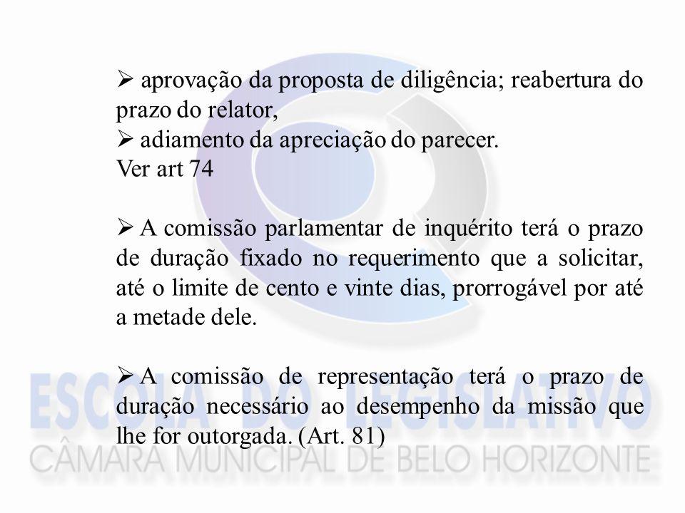 aprovação da proposta de diligência; reabertura do prazo do relator, adiamento da apreciação do parecer.