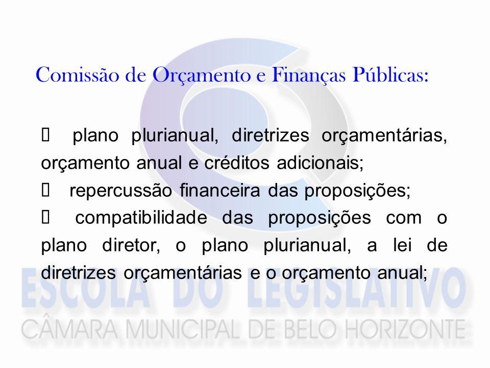 Comissão de Orçamento e Finanças Públicas: plano plurianual, diretrizes orçamentárias, orçamento anual e créditos adicionais; repercussão financeira das proposições; compatibilidade das proposições com o plano diretor, o plano plurianual, a lei de diretrizes orçamentárias e o orçamento anual;
