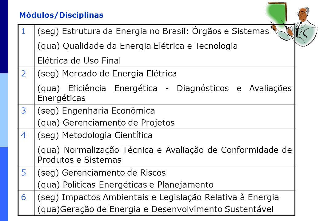 Módulos/Disciplinas 1(seg) Estrutura da Energia no Brasil: Órgãos e Sistemas (qua) Qualidade da Energia Elétrica e Tecnologia Elétrica de Uso Final 2(