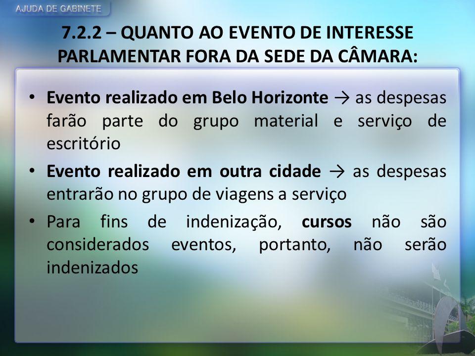 7.2.2 – QUANTO AO EVENTO DE INTERESSE PARLAMENTAR FORA DA SEDE DA CÂMARA: Evento realizado em Belo Horizonte as despesas farão parte do grupo material