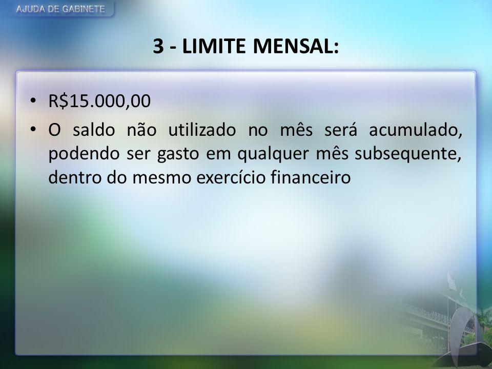 3 - LIMITE MENSAL: R$15.000,00 O saldo não utilizado no mês será acumulado, podendo ser gasto em qualquer mês subsequente, dentro do mesmo exercício f