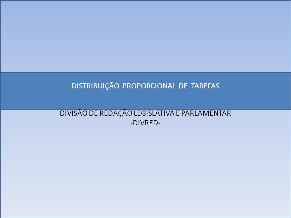 DISTRIBUIÇÃO PROPORCIONAL DE TAREFAS DIVISÃO DE REDAÇÃO LEGISLATIVA E PARLAMENTAR -DIVRED-