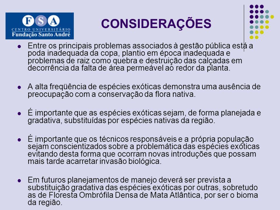 CONSIDERAÇÕES Entre os principais problemas associados à gestão pública está a poda inadequada da copa, plantio em época inadequada e problemas de rai