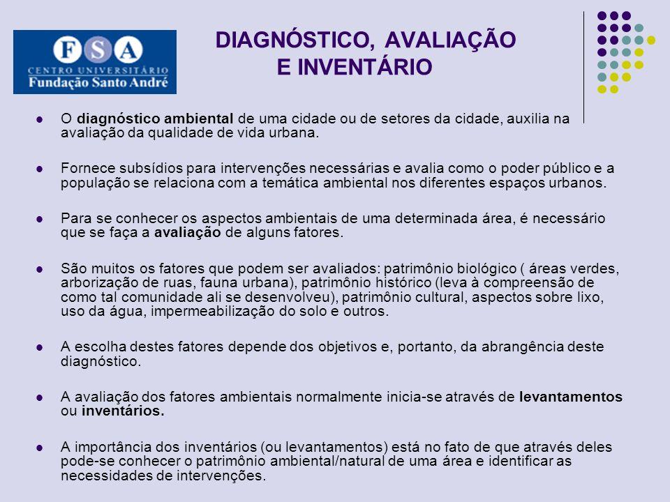 DIAGNÓSTICO, AVALIAÇÃO E INVENTÁRIO O diagnóstico ambiental de uma cidade ou de setores da cidade, auxilia na avaliação da qualidade de vida urbana. F