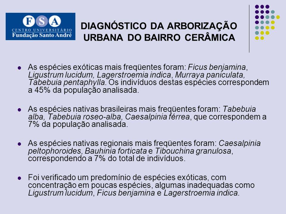 DIAGNÓSTICO DA ARBORIZAÇÃO URBANA DO BAIRRO CERÂMICA As espécies exóticas mais freqüentes foram: Ficus benjamina, Ligustrum lucidum, Lagerstroemia ind