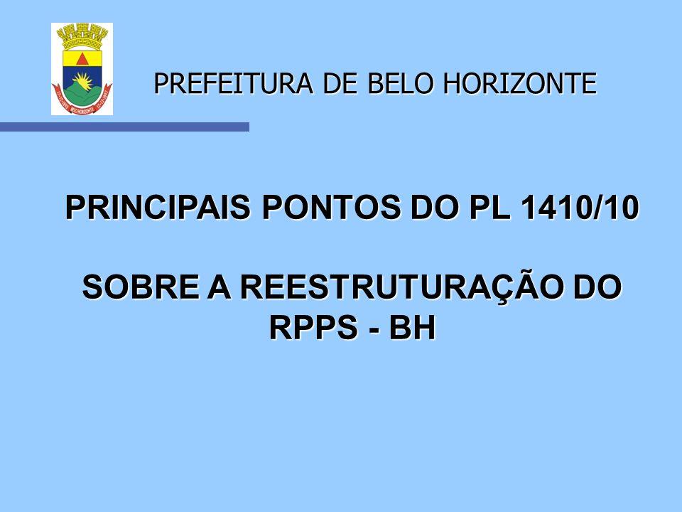 PREFEITURA DE BELO HORIZONTE Reestruturação da Previdência Municipal O PL 1410/10 não modifica: 1 - As regras de concessão de aposentadoria, bem como as regras de cálculo e reajuste dos proventos, estabelecidas pela CF/88 e sua Emendas.