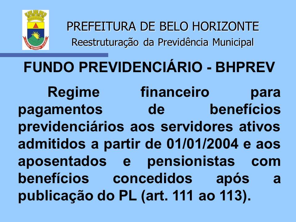 PREFEITURA DE BELO HORIZONTE Reestruturação da Previdência Municipal FUNDO PREVIDENCIÁRIO - BHPREV Regime financeiro para pagamentos de benefícios pre