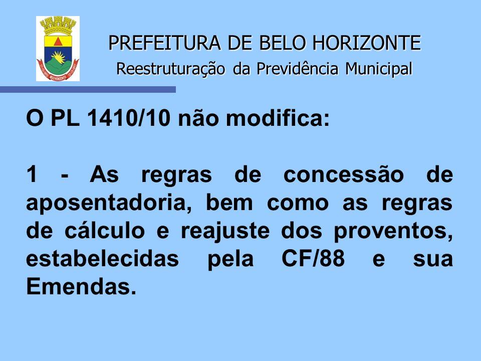 PREFEITURA DE BELO HORIZONTE Reestruturação da Previdência Municipal O PL 1410/10 não modifica: 1 - As regras de concessão de aposentadoria, bem como