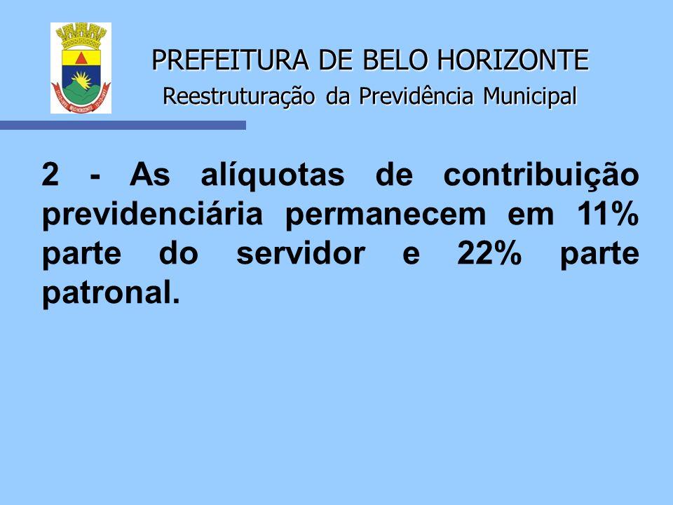 PREFEITURA DE BELO HORIZONTE Reestruturação da Previdência Municipal 2 - As alíquotas de contribuição previdenciária permanecem em 11% parte do servid