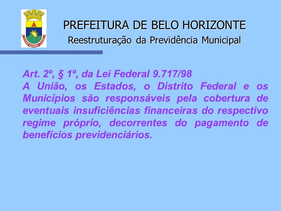 PREFEITURA DE BELO HORIZONTE Reestruturação da Previdência Municipal Art. 2º, § 1º, da Lei Federal 9.717/98 A União, os Estados, o Distrito Federal e