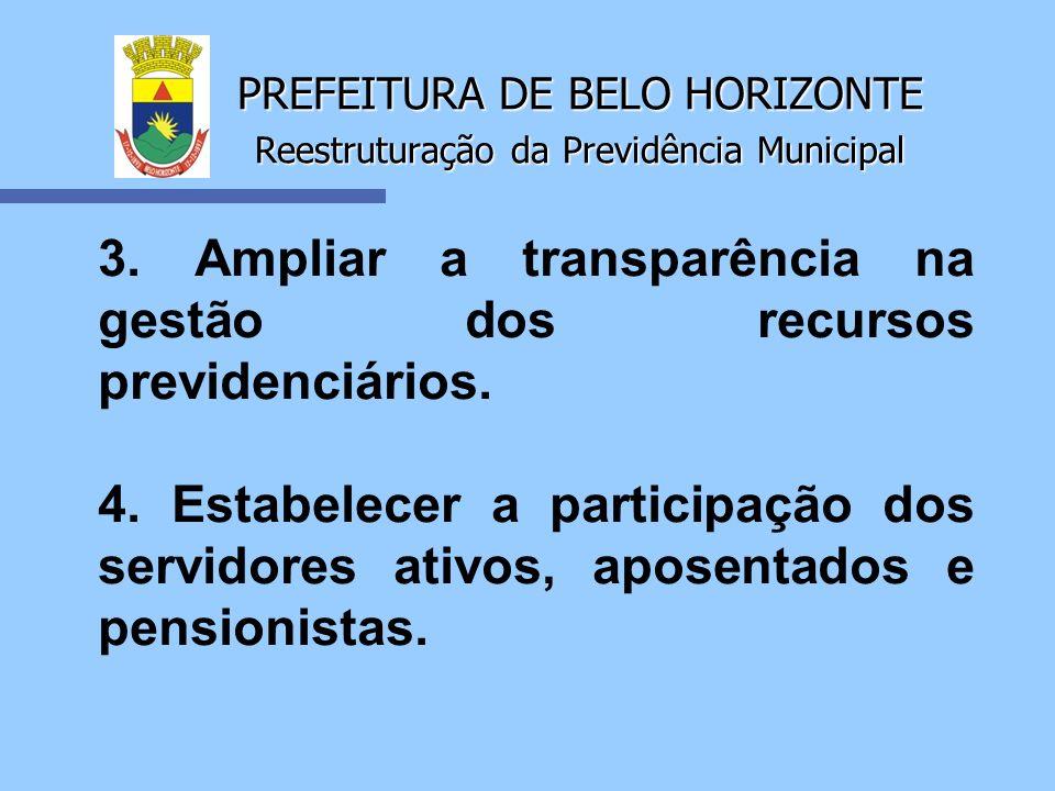 PREFEITURA DE BELO HORIZONTE Reestruturação da Previdência Municipal 3. Ampliar a transparência na gestão dos recursos previdenciários. 4. Estabelecer