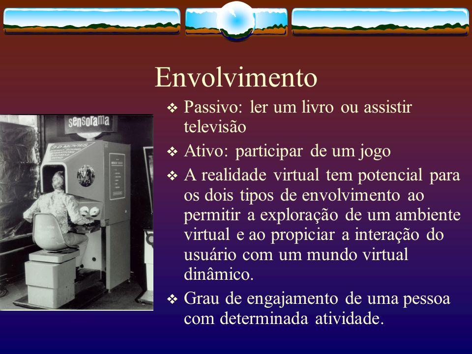 Envolvimento Passivo: ler um livro ou assistir televisão Ativo: participar de um jogo A realidade virtual tem potencial para os dois tipos de envolvim