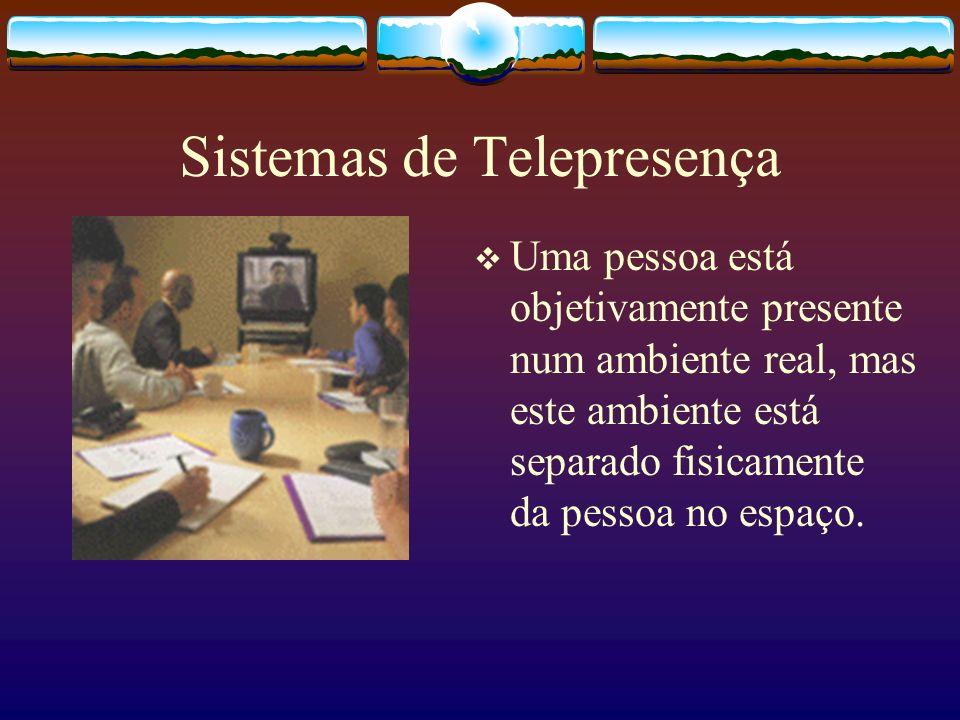 Sistemas de Telepresença Uma pessoa está objetivamente presente num ambiente real, mas este ambiente está separado fisicamente da pessoa no espaço.