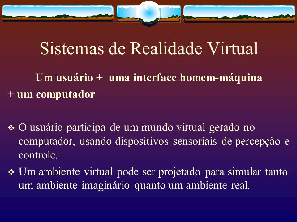 Sistemas de Realidade Virtual Um usuário + uma interface homem-máquina + um computador O usuário participa de um mundo virtual gerado no computador, u
