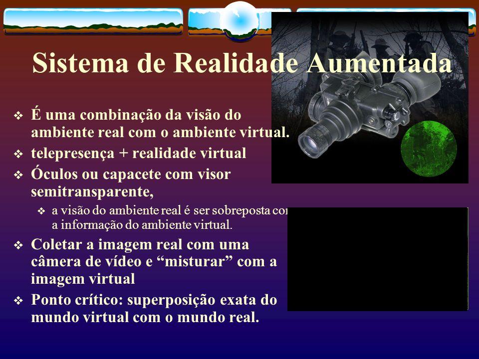 Sistema de Realidade Aumentada É uma combinação da visão do ambiente real com o ambiente virtual. telepresença + realidade virtual Óculos ou capacete