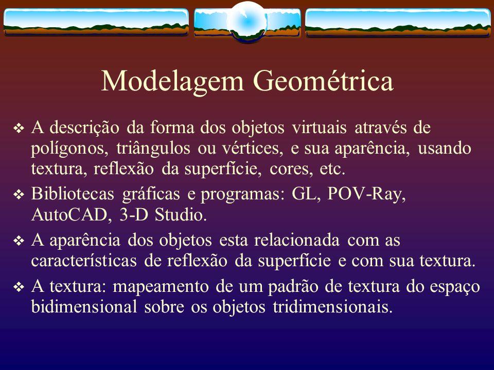 A descrição da forma dos objetos virtuais através de polígonos, triângulos ou vértices, e sua aparência, usando textura, reflexão da superfície, cores