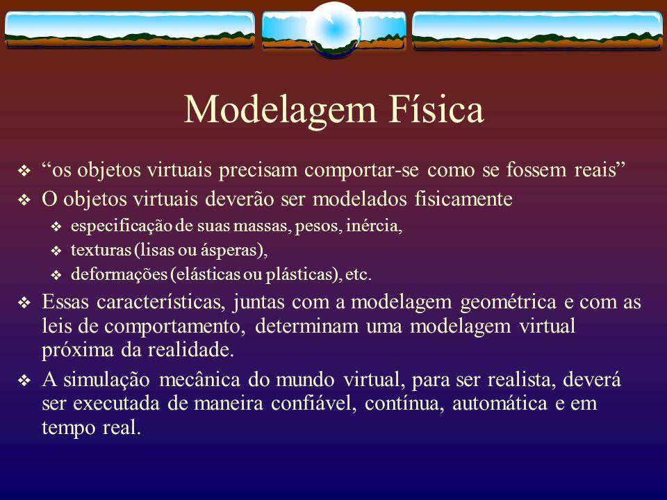 Modelagem Física os objetos virtuais precisam comportar-se como se fossem reais O objetos virtuais deverão ser modelados fisicamente especificação de