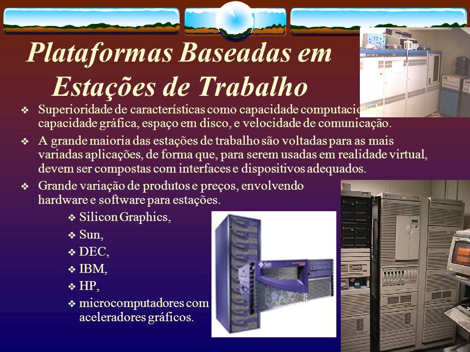 Plataformas Baseadas em Estações de Trabalho Superioridade de características como capacidade computacional, capacidade gráfica, espaço em disco, e ve