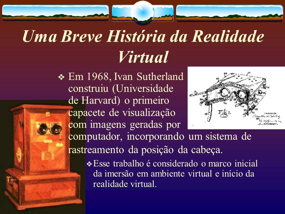 Em 1968, Ivan Sutherland construiu (Universidade de Harvard) o primeiro capacete de visualização com imagens geradas por computador, incorporando um s