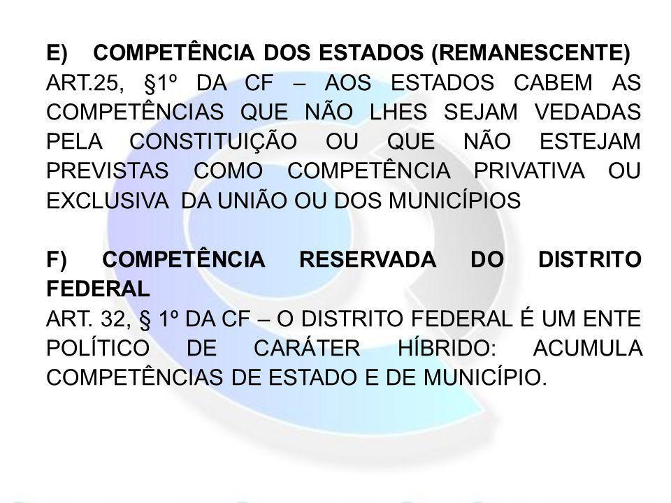 E) COMPETÊNCIA DOS ESTADOS (REMANESCENTE) ART.25, §1º DA CF – AOS ESTADOS CABEM AS COMPETÊNCIAS QUE NÃO LHES SEJAM VEDADAS PELA CONSTITUIÇÃO OU QUE NÃ
