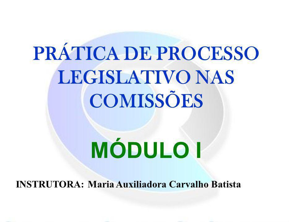 PRÁTICA DE PROCESSO LEGISLATIVO NAS COMISSÕES MÓDULO I INSTRUTORA: Maria Auxiliadora Carvalho Batista