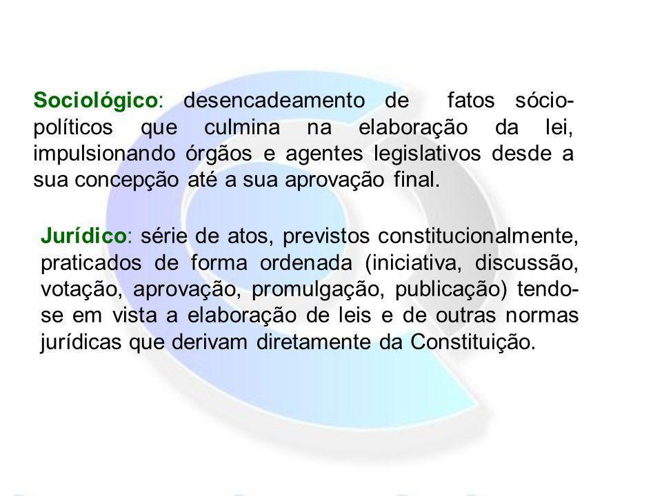 Sociológico: desencadeamento de fatos sócio- políticos que culmina na elaboração da lei, impulsionando órgãos e agentes legislativos desde a sua conce
