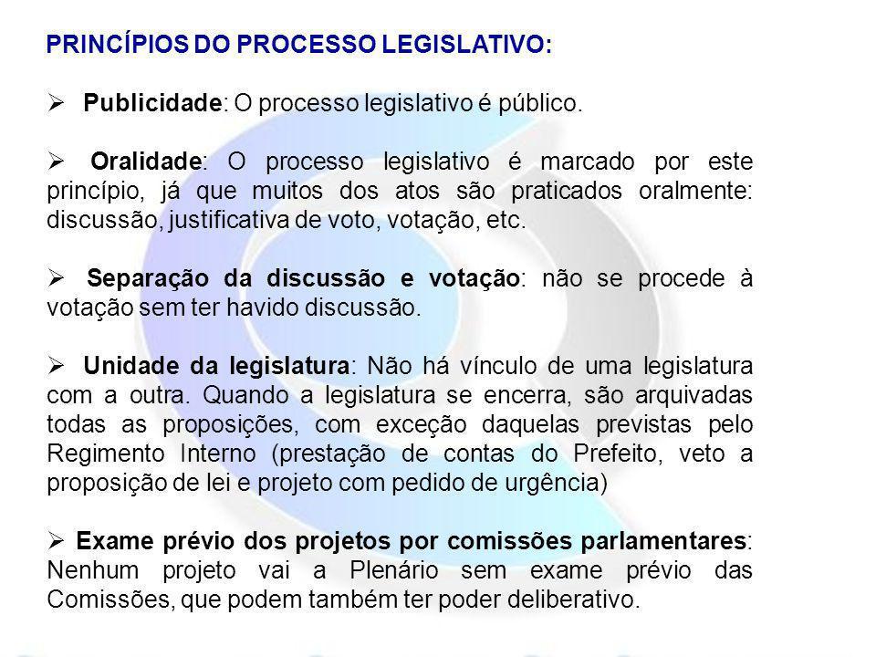 PRINCÍPIOS DO PROCESSO LEGISLATIVO: Publicidade: O processo legislativo é público. Oralidade: O processo legislativo é marcado por este princípio, já