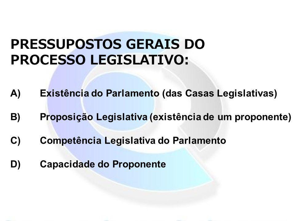 A)Existência do Parlamento (das Casas Legislativas) B)Proposição Legislativa (existência de um proponente) C)Competência Legislativa do Parlamento D)C