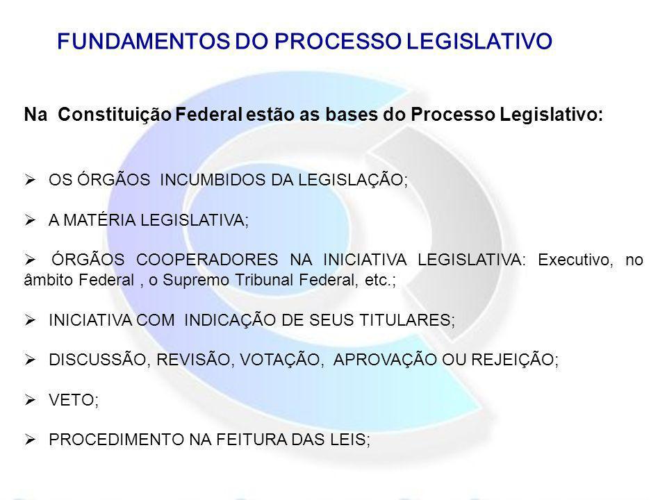 FUNDAMENTOS DO PROCESSO LEGISLATIVO Na Constituição Federal estão as bases do Processo Legislativo: OS ÓRGÃOS INCUMBIDOS DA LEGISLAÇÃO; A MATÉRIA LEGI