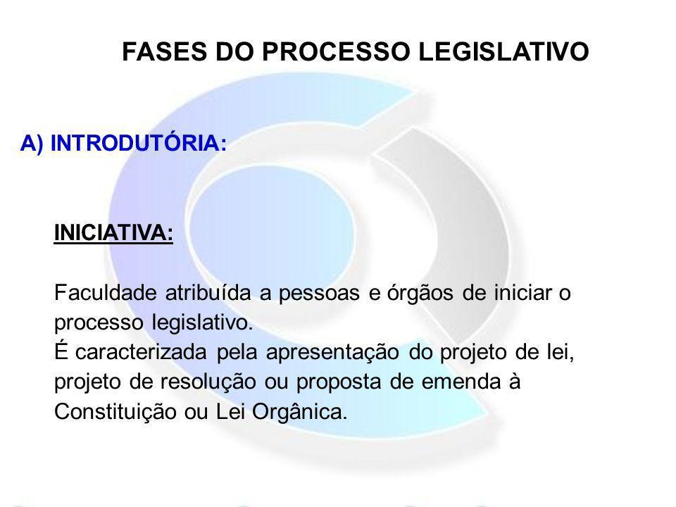 FASES DO PROCESSO LEGISLATIVO A) INTRODUTÓRIA: INICIATIVA: Faculdade atribuída a pessoas e órgãos de iniciar o processo legislativo. É caracterizada p