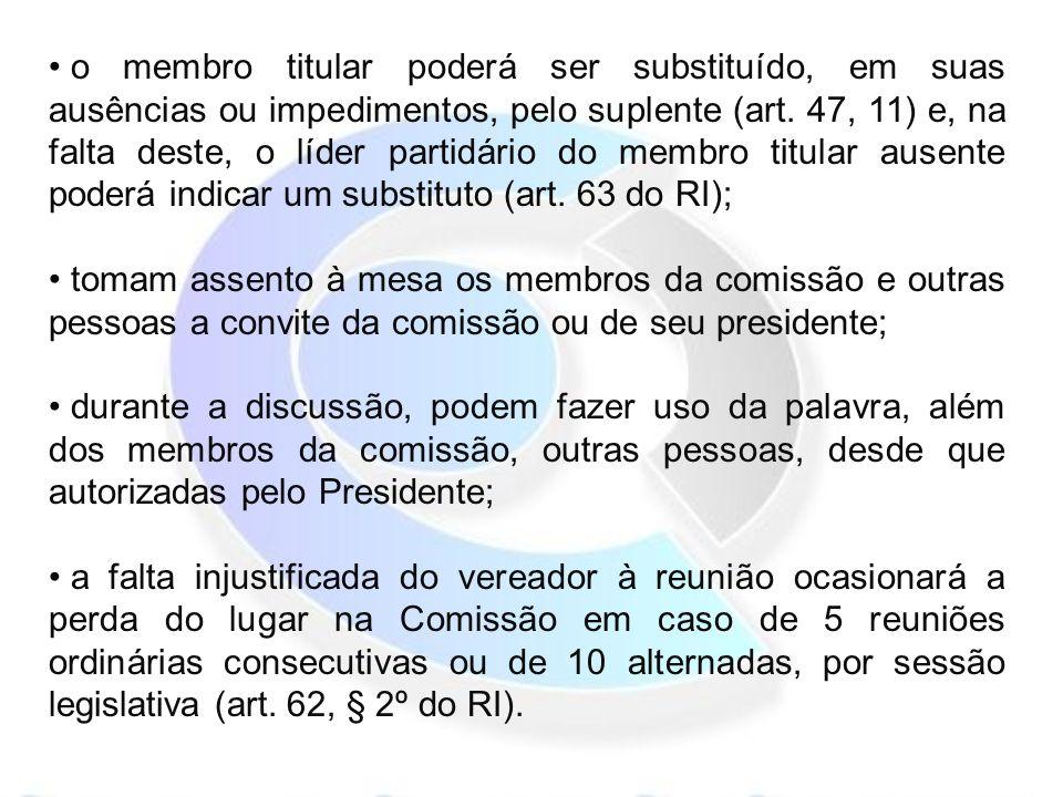 o membro titular poderá ser substituído, em suas ausências ou impedimentos, pelo suplente (art.