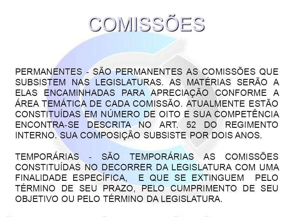 PERMANENTES - PERMANENTES - SÃO PERMANENTES AS COMISSÕES QUE SUBSISTEM NAS LEGISLATURAS.
