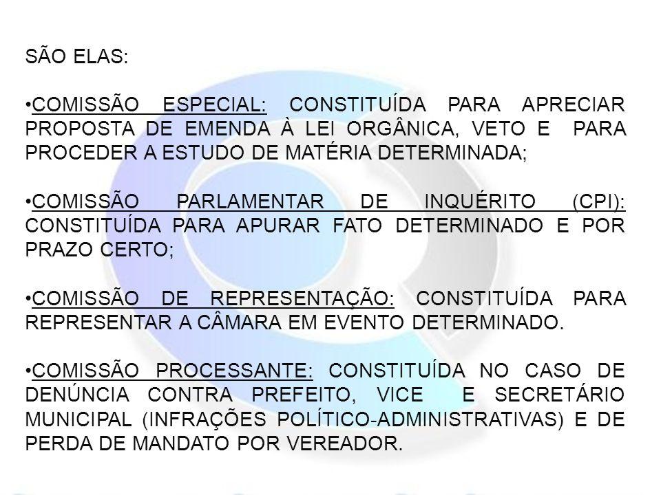 SÃO ELAS: COMISSÃO ESPECIAL: CONSTITUÍDA PARA APRECIAR PROPOSTA DE EMENDA À LEI ORGÂNICA, VETO E PARA PROCEDER A ESTUDO DE MATÉRIA DETERMINADA; COMISSÃO PARLAMENTAR DE INQUÉRITO (CPI): CONSTITUÍDA PARA APURAR FATO DETERMINADO E POR PRAZO CERTO; COMISSÃO DE REPRESENTAÇÃO: CONSTITUÍDA PARA REPRESENTAR A CÂMARA EM EVENTO DETERMINADO.