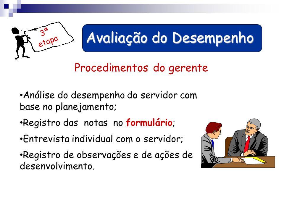 3ª etapa Avaliação do Desempenho Avaliação do Desempenho Procedimentos do gerente Análise do desempenho do servidor com base no planejamento; Registro