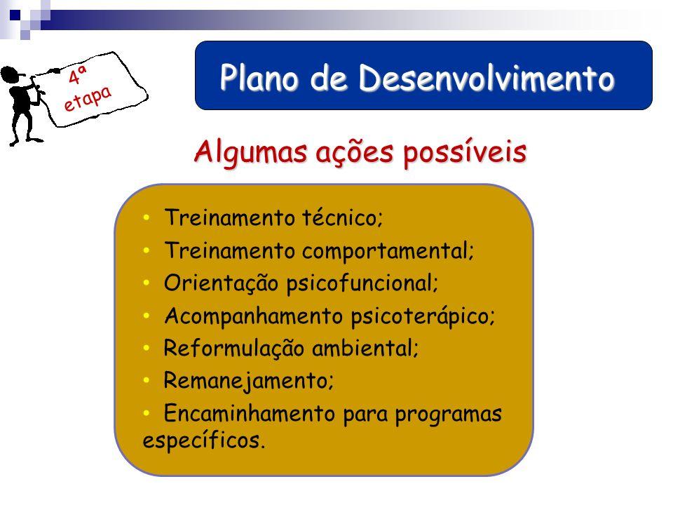 4ª etapa Plano de Desenvolvimento Plano de Desenvolvimento Treinamento técnico; Treinamento comportamental; Orientação psicofuncional; Acompanhamento