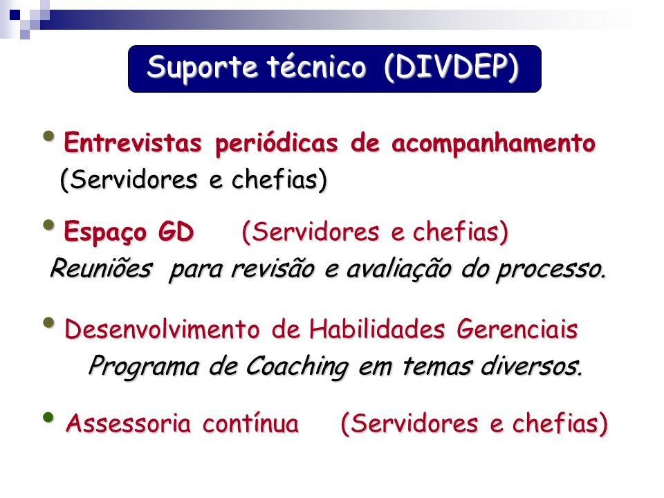 Suporte técnico (DIVDEP) Espaço GD (Servidores e chefias) Espaço GD (Servidores e chefias) Reuniões para revisão e avaliação do processo. Desenvolvime