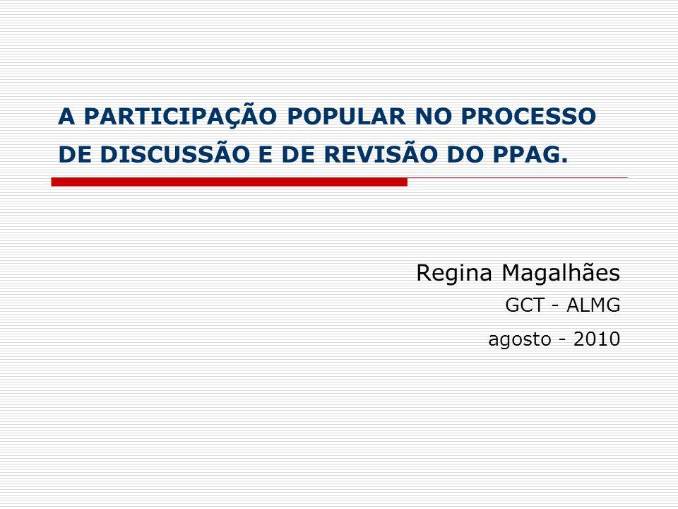 O Monitoramento do PPAG Ações desenvolvidas pela ALMG Criação do hotsite do PPAG, com acesso específico para as informações relativas a seu monitoramento Realização da Audiência Pública de Monitoramento do PPAG 2008-2011, exercício 2009, nos dias 24 e 25 de junho de 2009 Programação para a realização de Audiência Pública de Monitoramento do PPAG 2008-2011, exercício 2010, para o final de 2010, em conjunto com o processo de revisão do PPAG para o exercício de 2011.