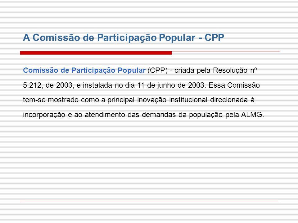 A Comissão de Participação Popular - CPP Comissão de Participação Popular (CPP) - criada pela Resolução nº 5.212, de 2003, e instalada no dia 11 de ju
