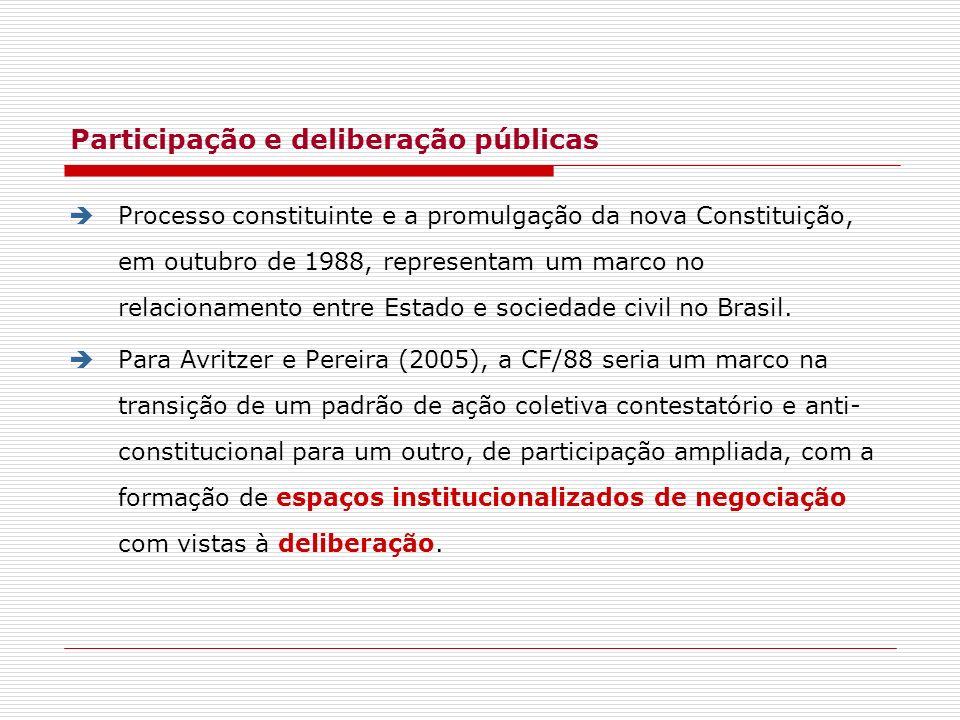 Participação e deliberação públicas Processo constituinte e a promulgação da nova Constituição, em outubro de 1988, representam um marco no relacionam