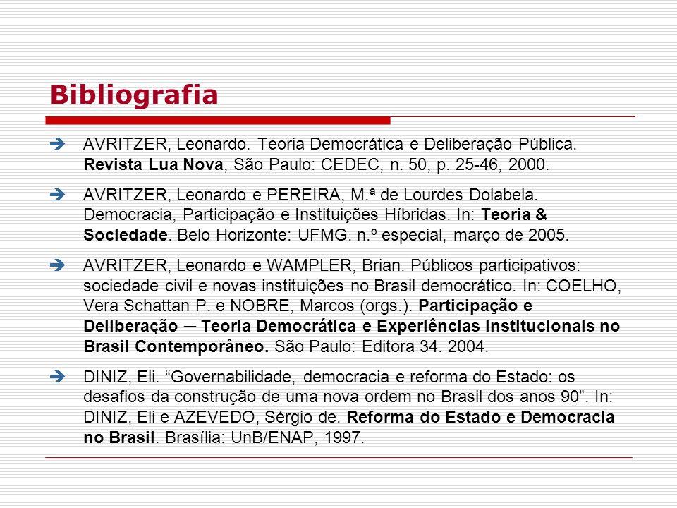 Bibliografia AVRITZER, Leonardo. Teoria Democrática e Deliberação Pública. Revista Lua Nova, São Paulo: CEDEC, n. 50, p. 25-46, 2000. AVRITZER, Leonar