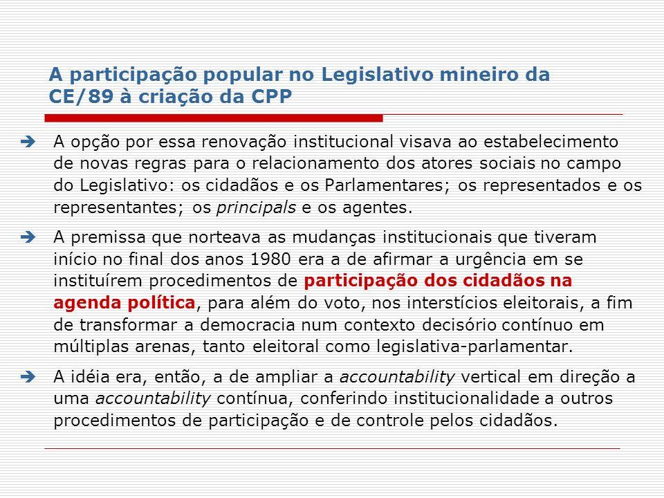 A participação popular no Legislativo mineiro da CE/89 à criação da CPP A opção por essa renovação institucional visava ao estabelecimento de novas re