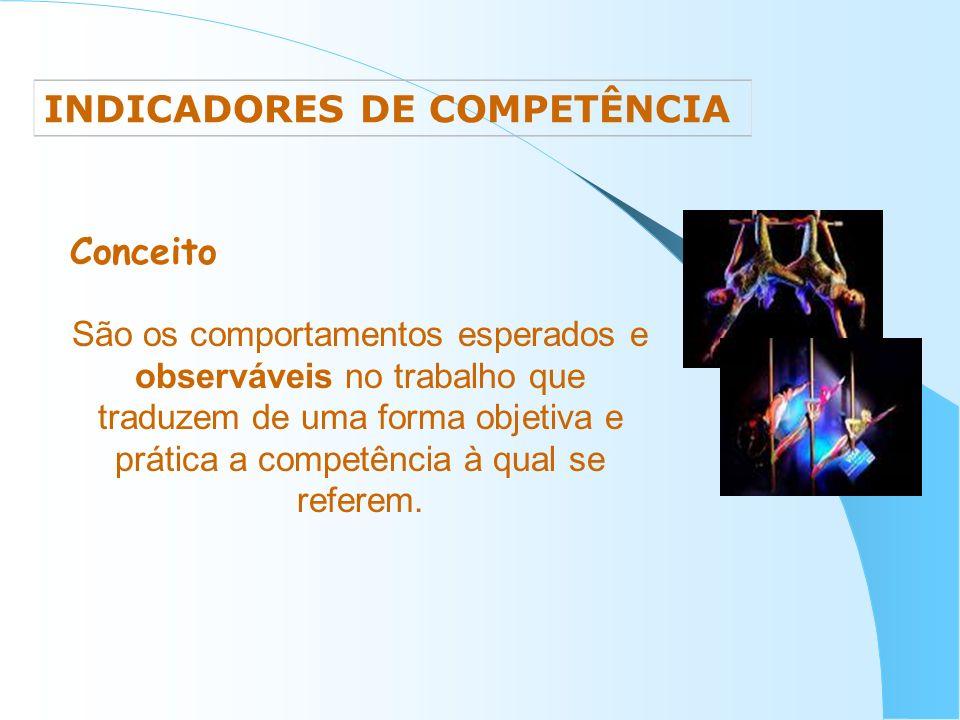 INDICADORES DE COMPETÊNCIA Conceito São os comportamentos esperados e observáveis no trabalho que traduzem de uma forma objetiva e prática a competênc