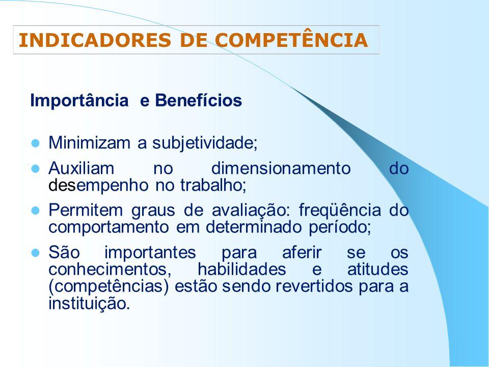 Importância e Benefícios Minimizam a subjetividade; Auxiliam no dimensionamento do desempenho no trabalho; Permitem graus de avaliação: freqüência do