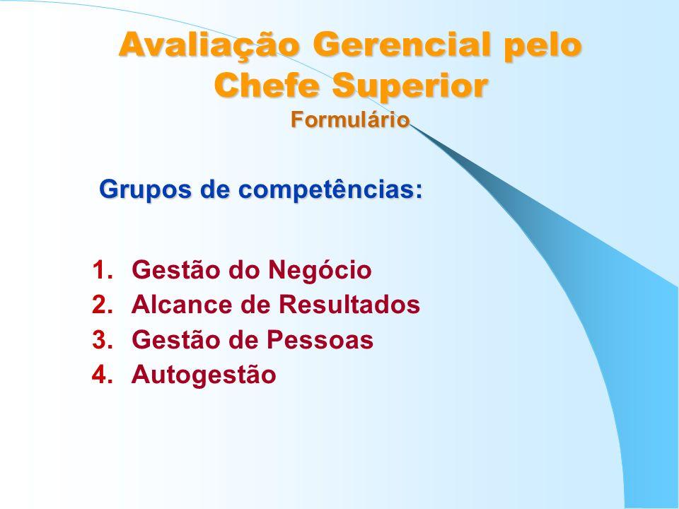 1.Gestão do Negócio 2.Alcance de Resultados 3.Gestão de Pessoas 4.Autogestão Grupos de competências: Avaliação Gerencial pelo Chefe Superior Formulári